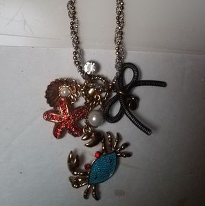 Betsey cancer the crab necklace pearls shell